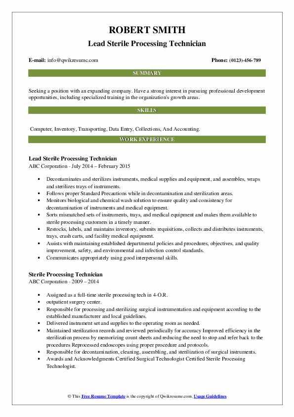 sterile processing technician resume samples