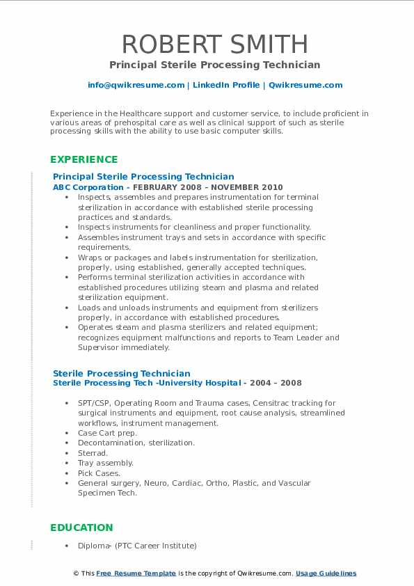 Principal Sterile Processing Technician Resume Model