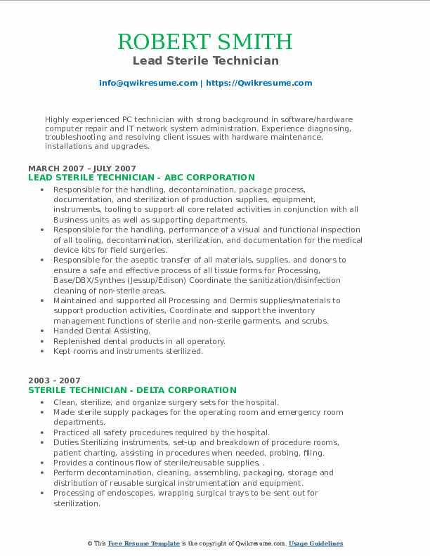 sterile technician resume samples  qwikresume