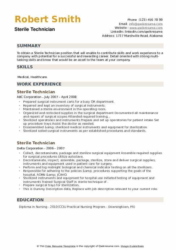Sterile Technician Resume example