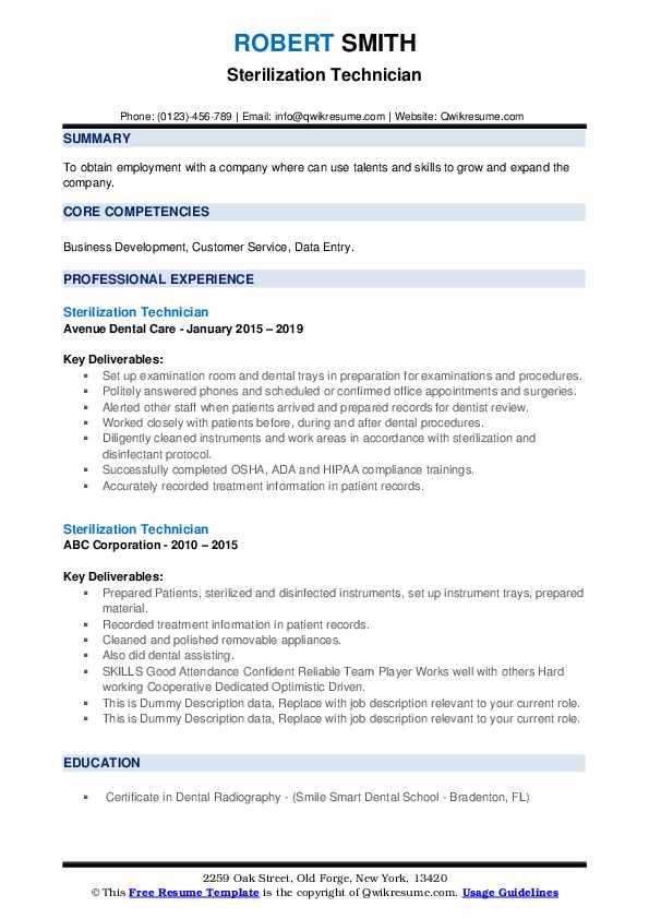 Sterilization Technician Resume example