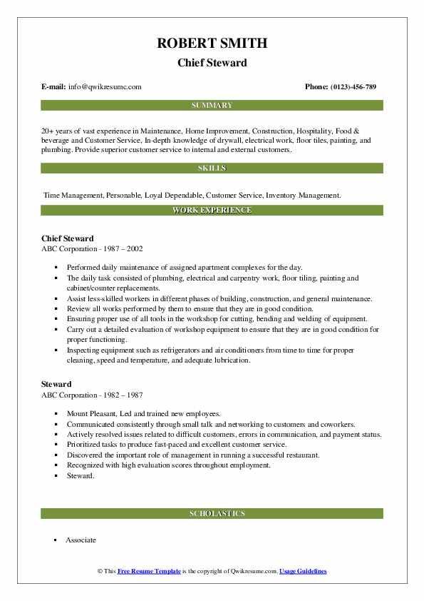 Steward Resume Samples | QwikResume
