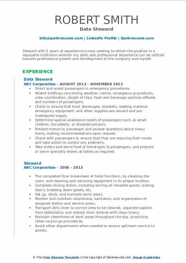 Data Steward Resume Example