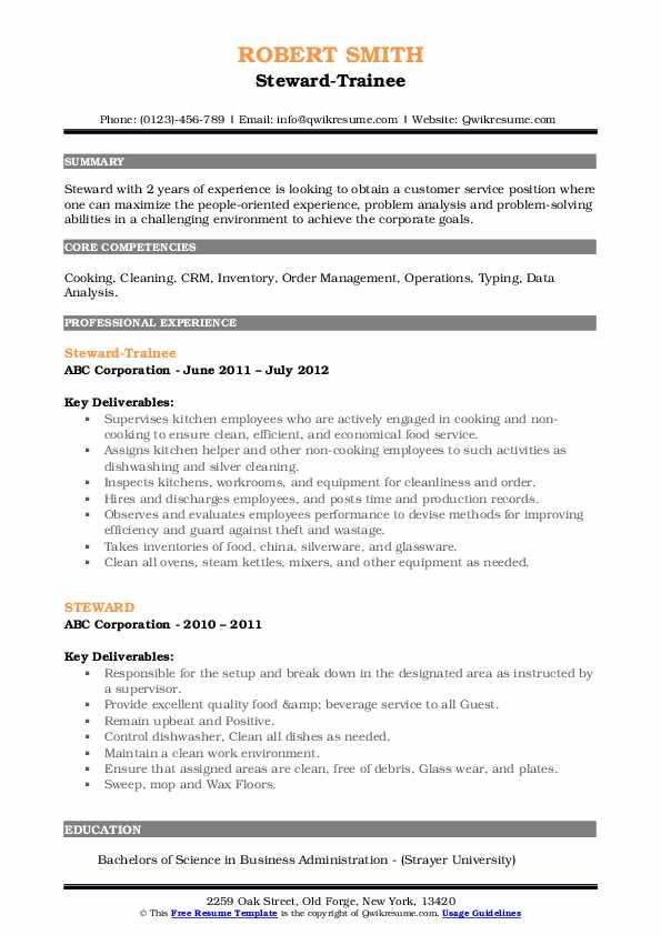 Steward-Trainee Resume Template