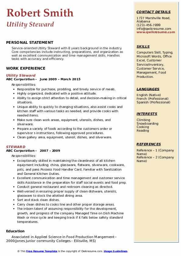 steward resume samples