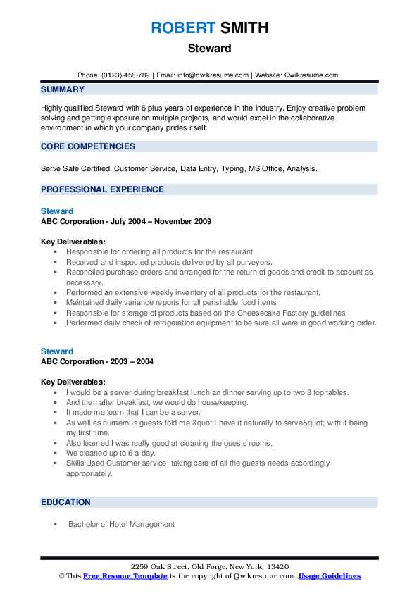 Steward Resume example