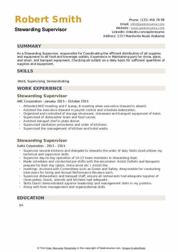 Stewarding Supervisor Resume example