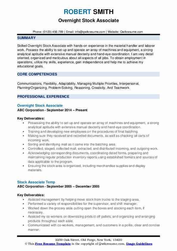 Overnight Stock Associate Resume Format