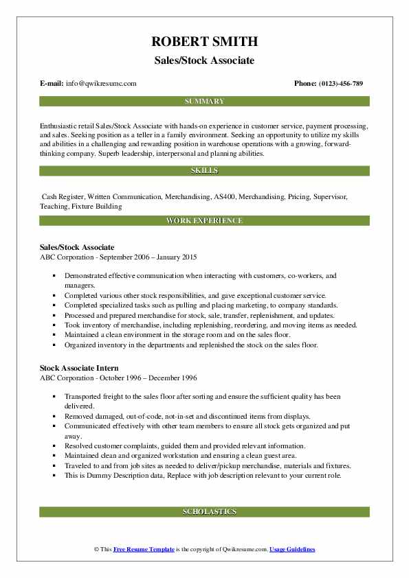 Sales/Stock Associate Resume Format