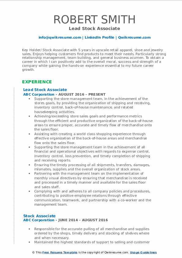 Lead Stock Associate Resume Template
