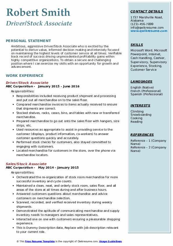 Driver/Stock Associate Resume Template