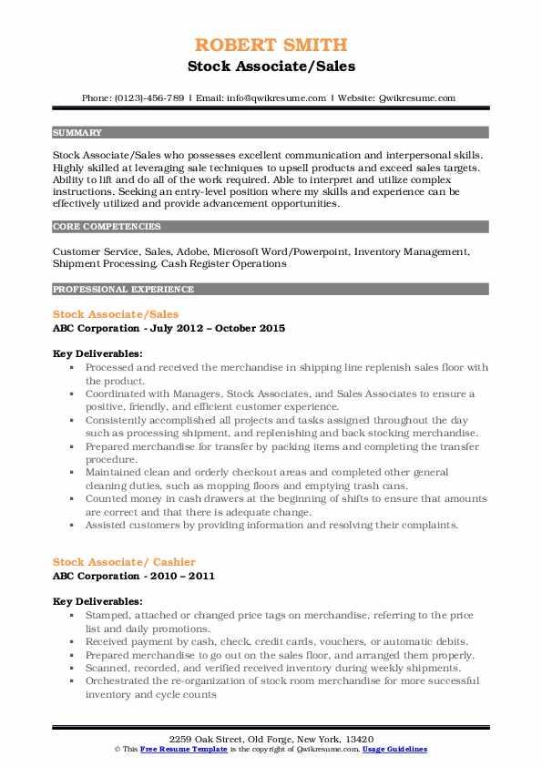 Stock Associate/Sales Resume Example