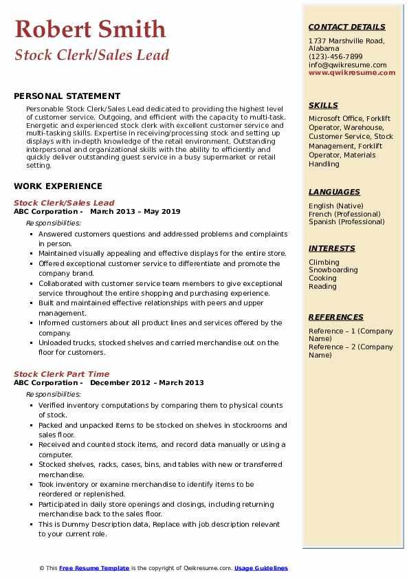 Stock Clerk/Sales Lead Resume Format