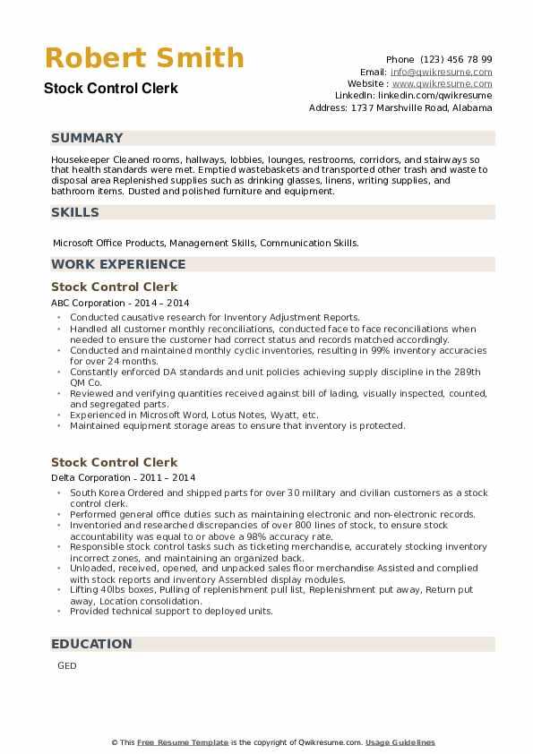 Stock Control Clerk Resume example