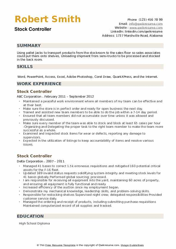 Stock Controller Resume example