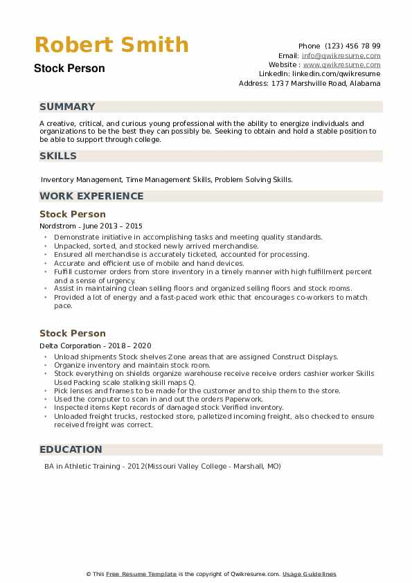 Stock Person Resume example