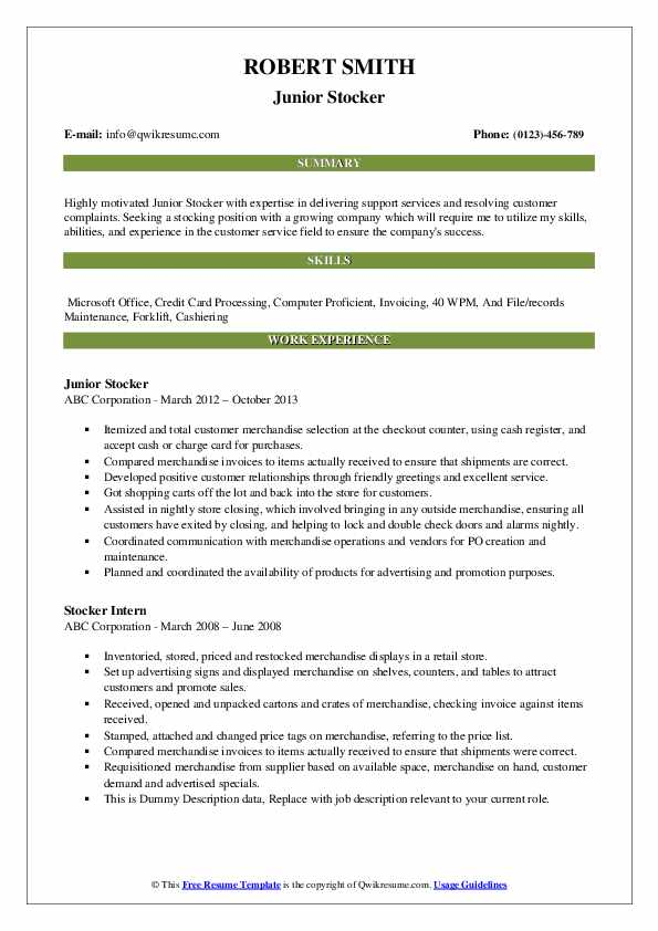 Junior Stocker Resume Model