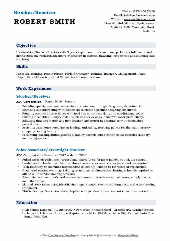 Stocker/Receiver Resume Sample
