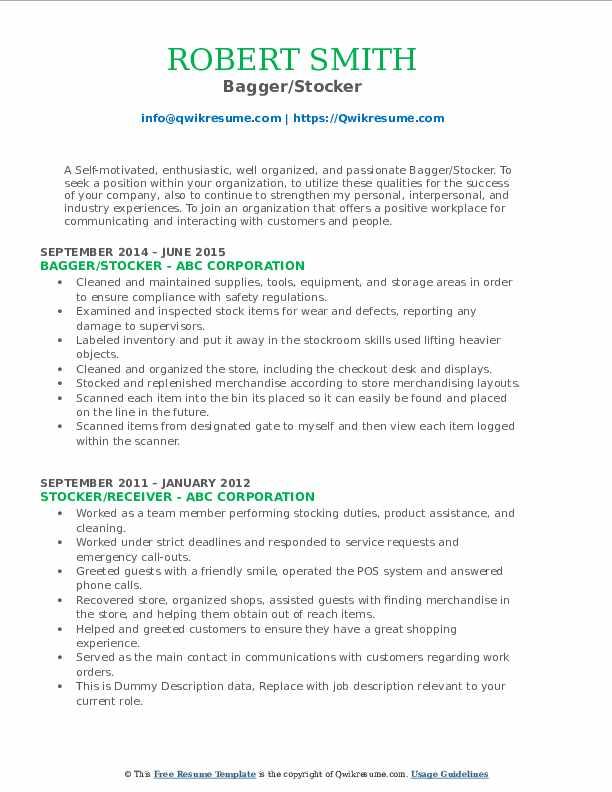 Bagger/Stocker Resume Model