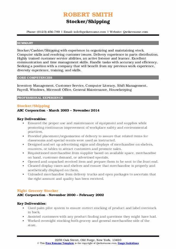 Stocker/Shipping Resume Template
