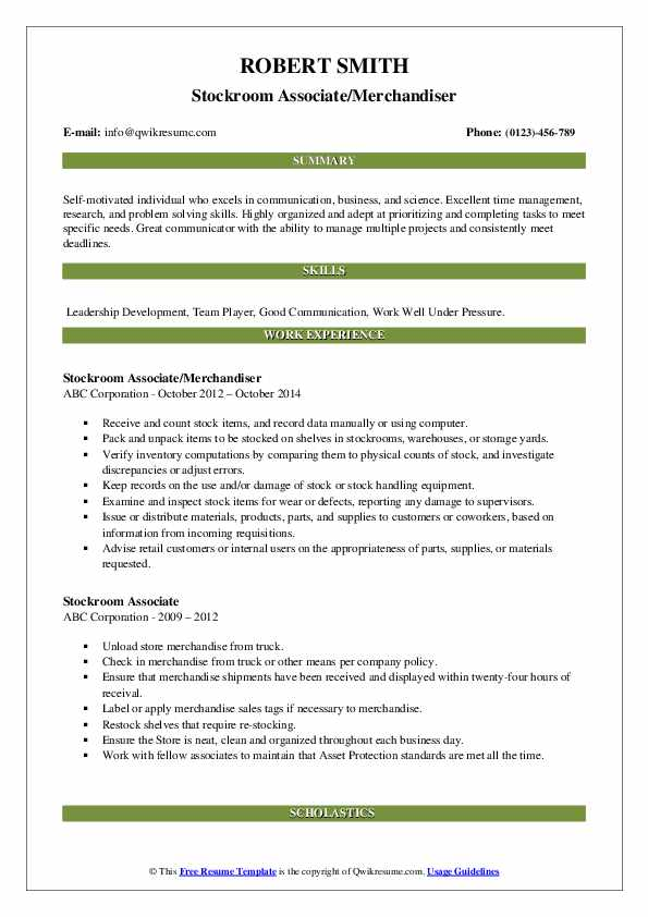 Stockroom Associate/Merchandiser Resume Example