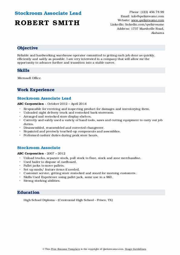 Stockroom Associate Lead Resume Format