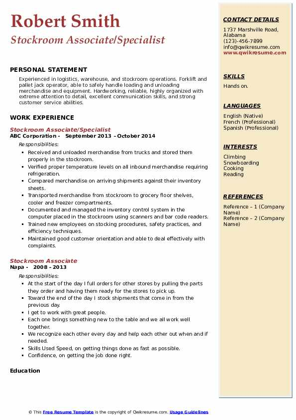 Stockroom Associate/Specialist Resume Example