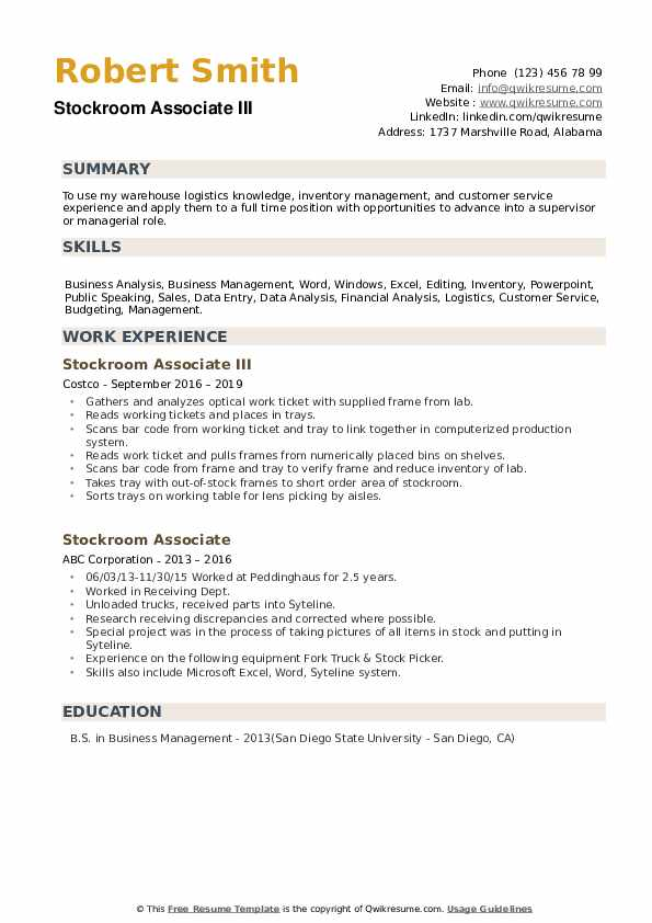 Stockroom Associate III Resume Sample