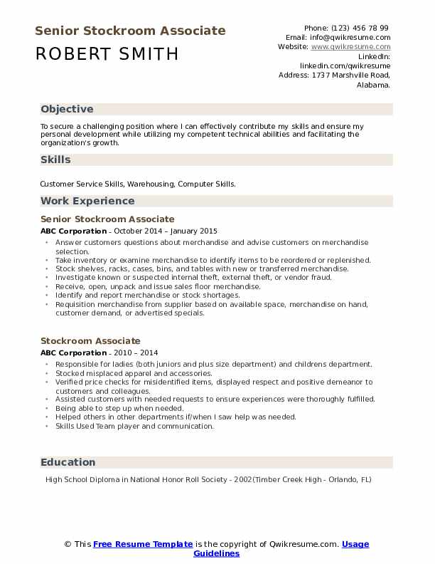 Senior Stockroom Associate Resume Example