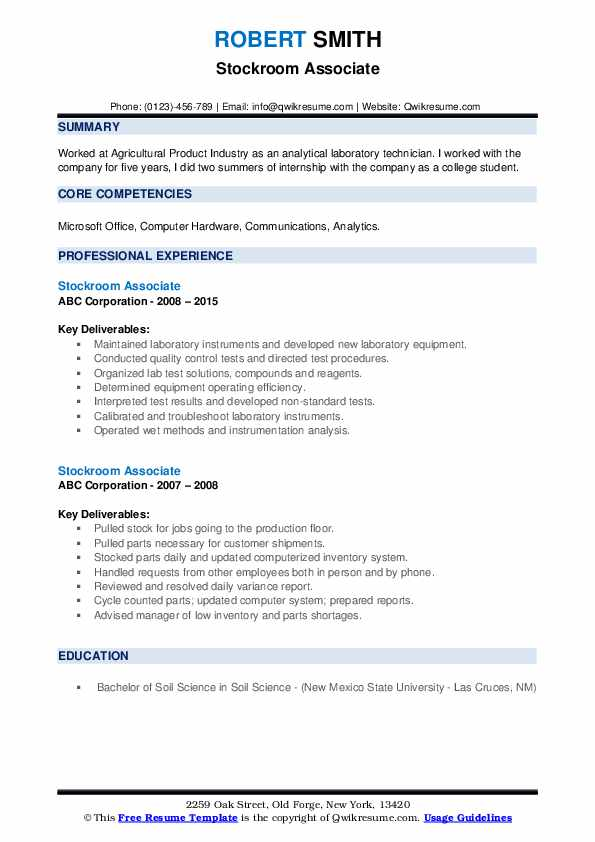 Stockroom Associate Resume example