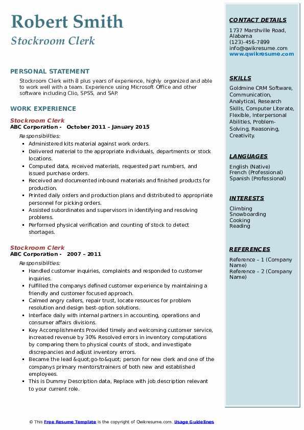 Stockroom Clerk Resume example