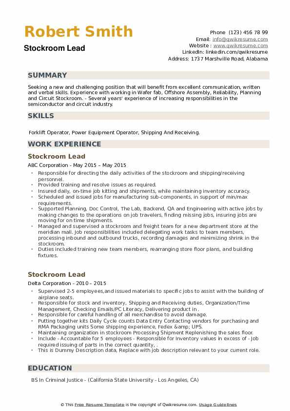 Stockroom Lead Resume example