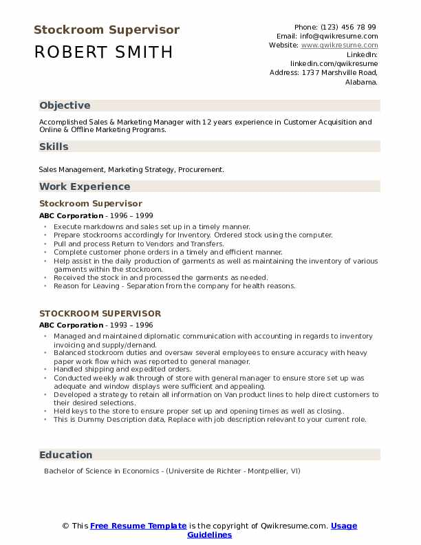 Stockroom Supervisor Resume example
