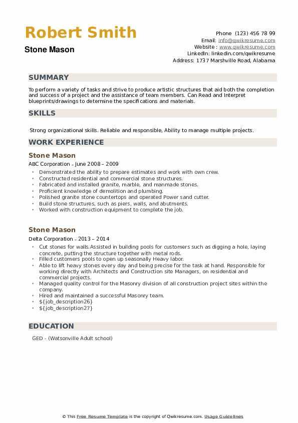 Stone Mason Resume example
