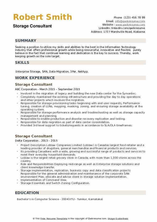 Storage Consultant Resume example