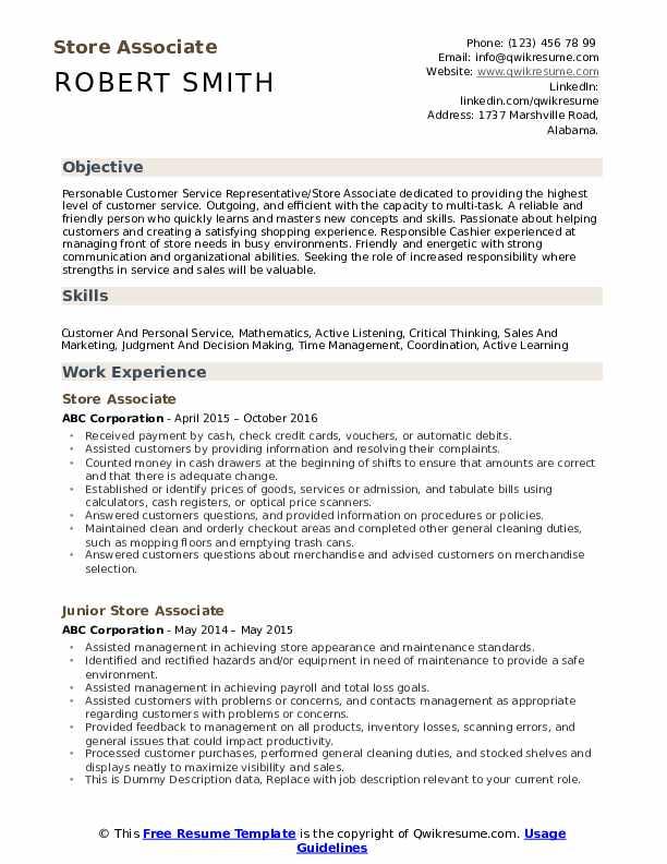 Store Associate Resume Example