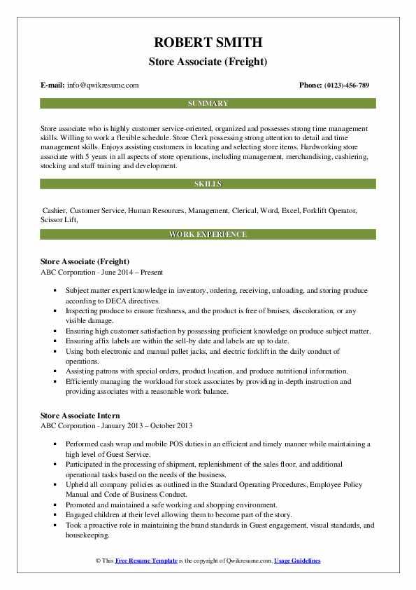 Store Associate (Freight) Resume Template