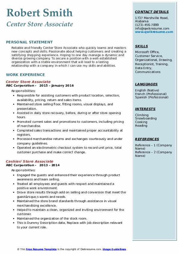 Center Store Associate Resume Format