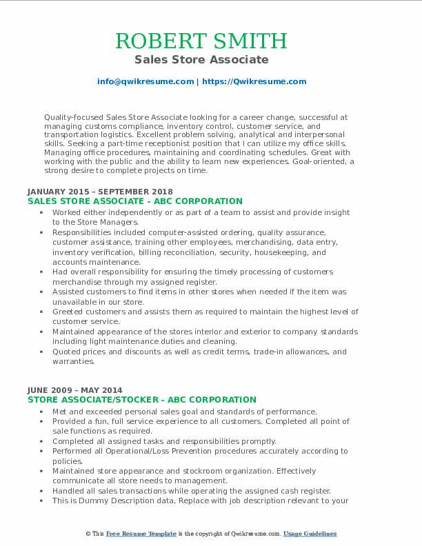 Sales Store Associate Resume Format