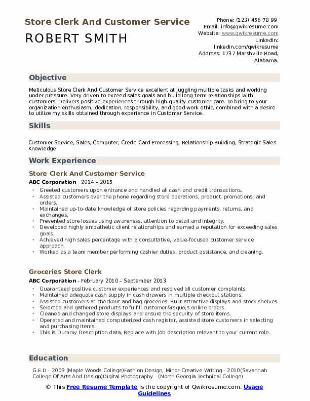 Store Clerk And Customer Service Resume Sample
