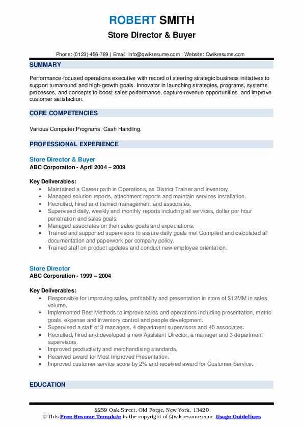 Store Director & Buyer Resume Model