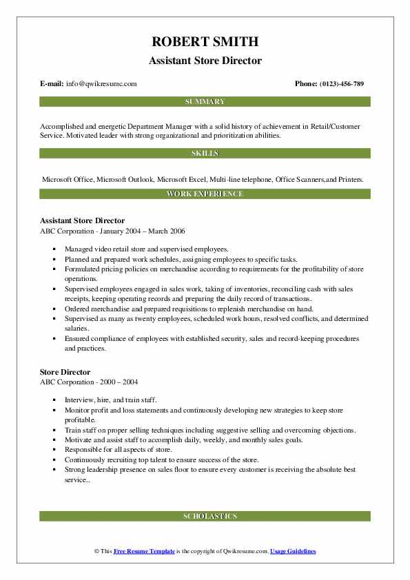 Assistant Store Director Resume Sample