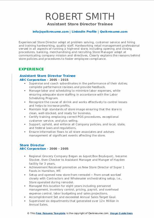 Assistant Store Director Trainee Resume Format