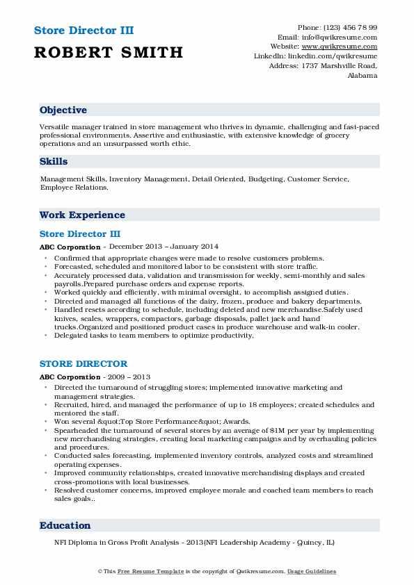 Store Director III Resume Format