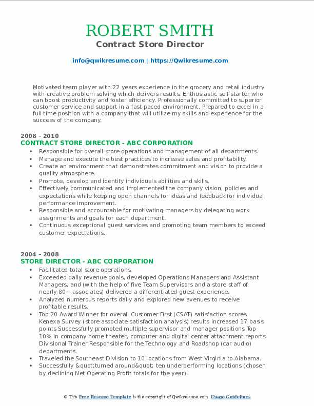 Contract Store Director Resume Sample