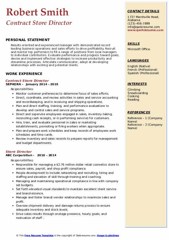 Contract Store Director Resume Format