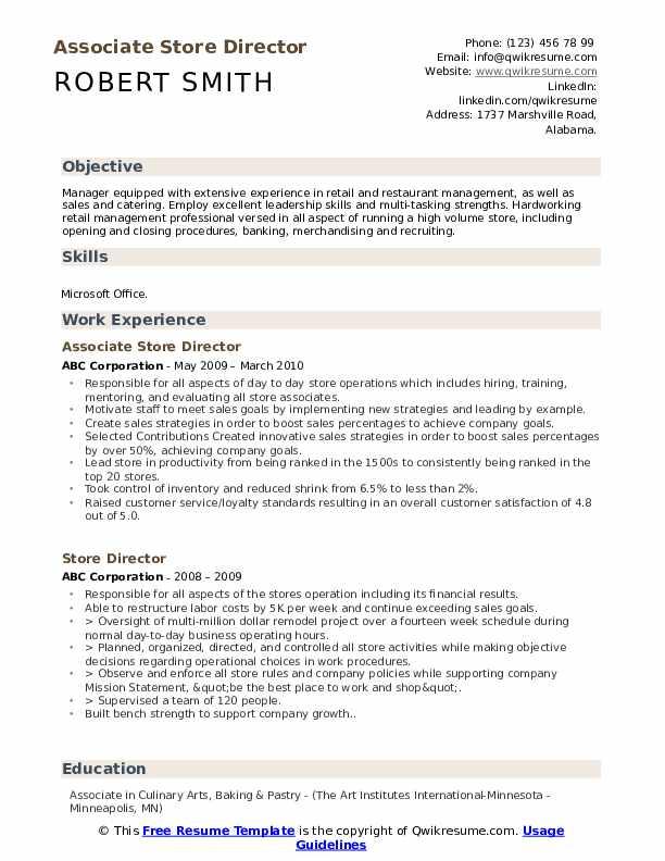 Associate Store Director Resume Sample