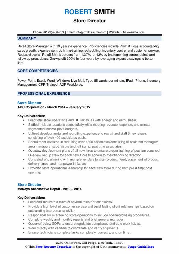 Store Director Resume example