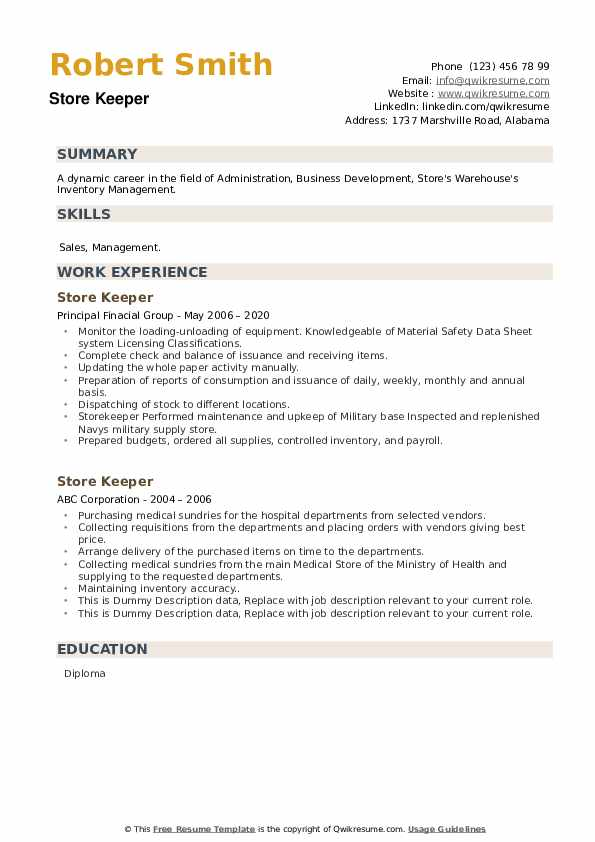 Store Keeper Resume example
