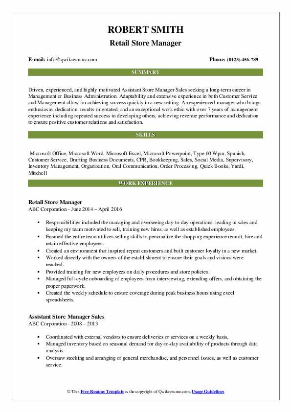Retail Store Manager Resume Model